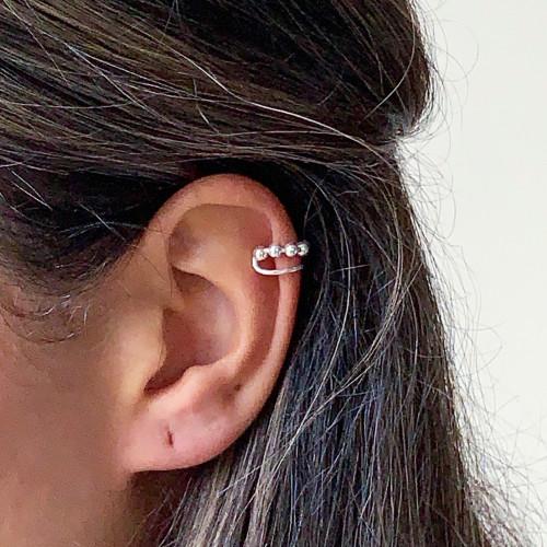 Sterling Silver Ball Ear Cuffs