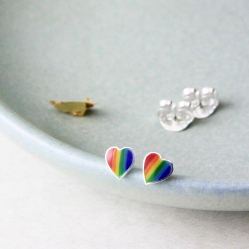 Sterling Silver Rainbow Heart Stud Earrings