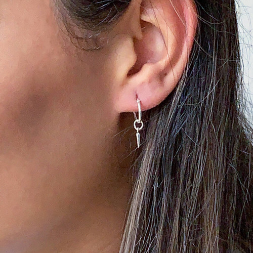 Sterling Silver Petite Hoop Earrings  with Spikes