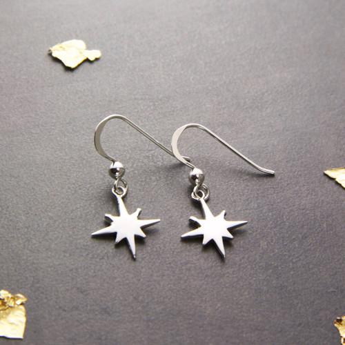 Sterling Silver North Star Drop Earrings