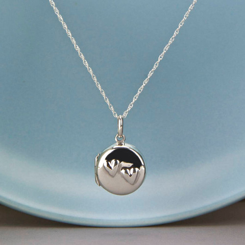 Embossed Two Hearts Locket Necklace