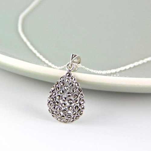 Sterling Silver Marcasite Teardrop Necklace