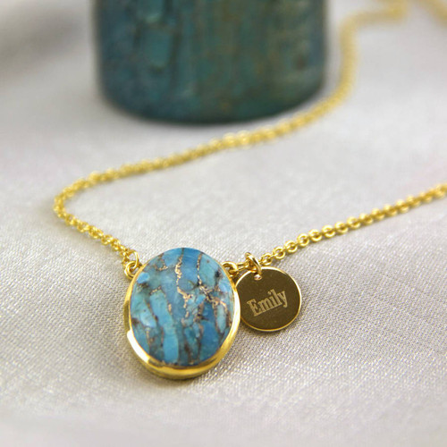 Personalised Gold Turquoise Necklace