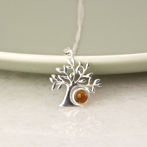 Sterling Silver Amber Tree of Life Necklace