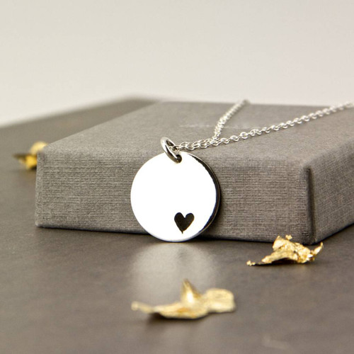Sterling Silver Disc with Heart Cutout Necklace
