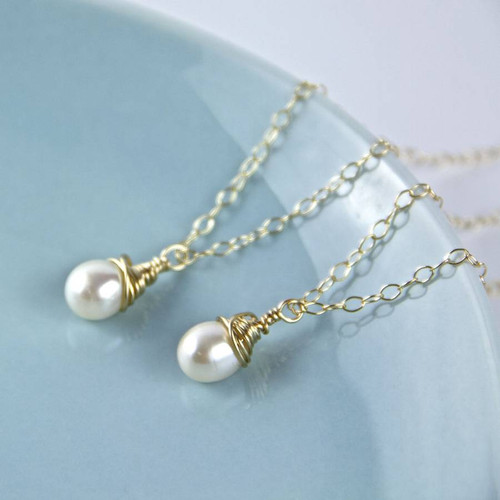 Wrapped Gold and Teardrop Pearl Necklace