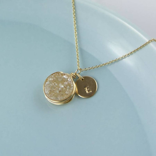 Personalised Gold Druzy Necklace