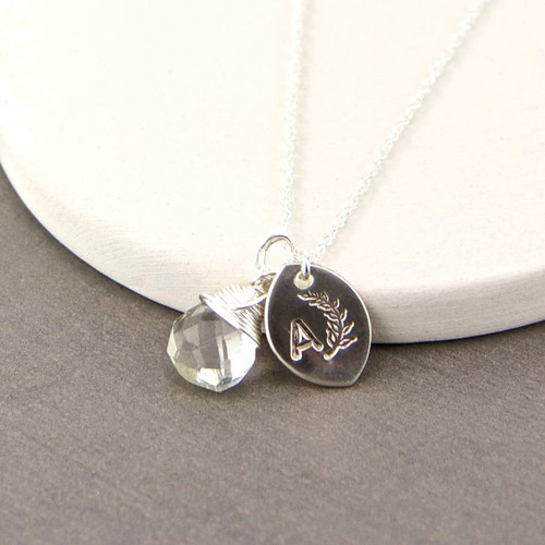 Dainty Sterling Silver Teardrop Birthstone Necklace