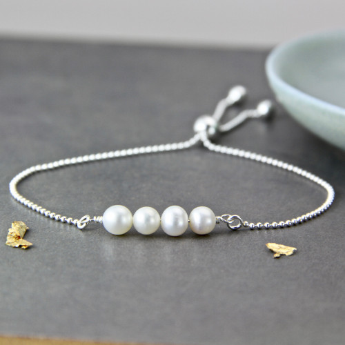 40th Birthday Pearl Sliding Bracelet