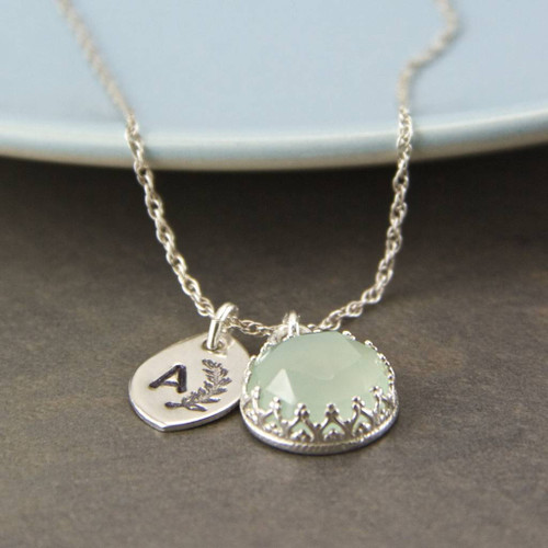 Blue Chalcedony Sterling Silver Initial Necklace