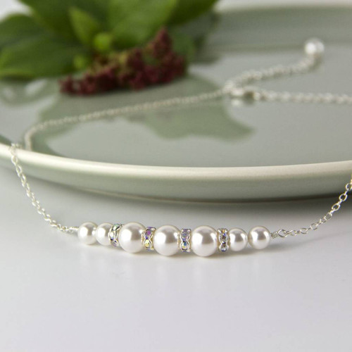 Graduated Pearl Necklace made with Swarovski Pearls