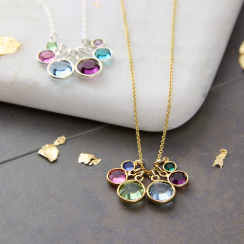 Birthstone Family Cluster Necklace