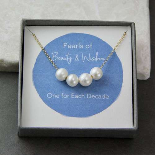 Floating Pearls Birthday Necklace