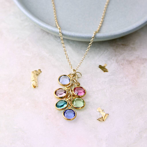 Family Birthstone Cascade Necklace