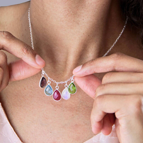 Teardrop Birthstone Family Necklace
