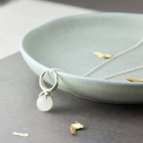 Sterling Silver Moonstone Drop Necklace