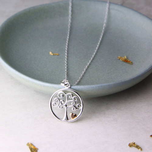 Two Tone Tree of Life and Heart Necklace