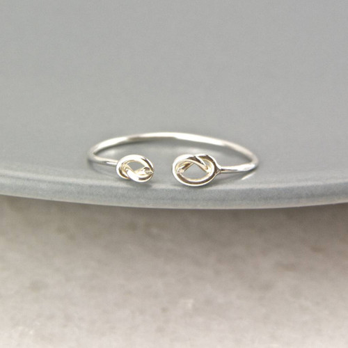 Dainty Sterling Silver Knot Open Ring