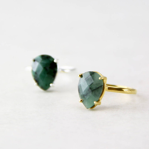 Raw Emerald Teardrop Faceted Gemstone Ring