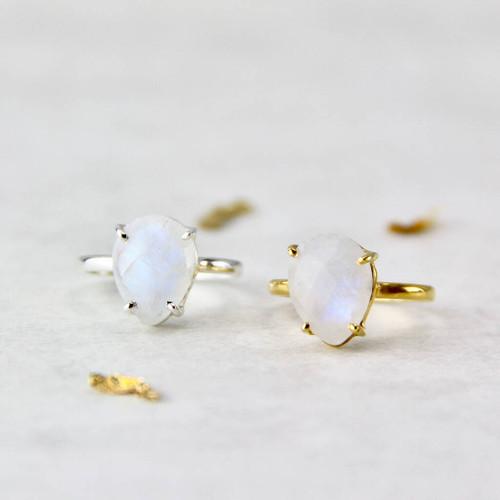Moonstone Teardrop Faceted Gemstone Ring