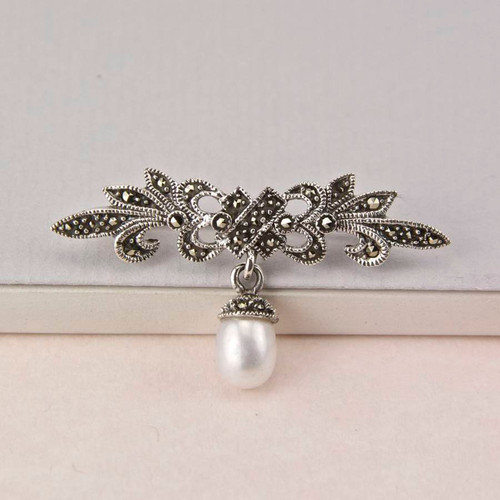 Marcasite and Pearl Scroll Brooch