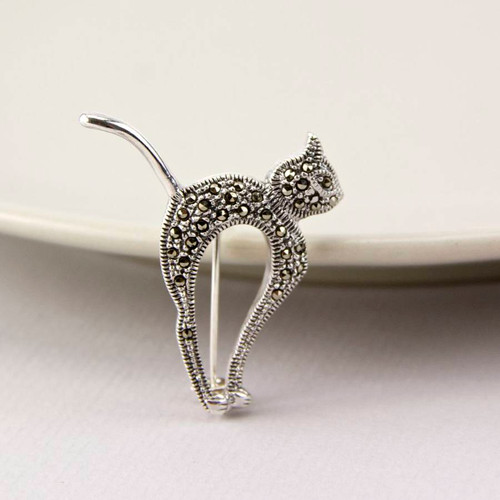 Marcasite Sterling Silver Cat Brooch