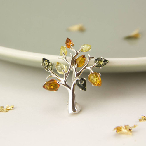 Sterling Silver Amber Tree of Life Brooch