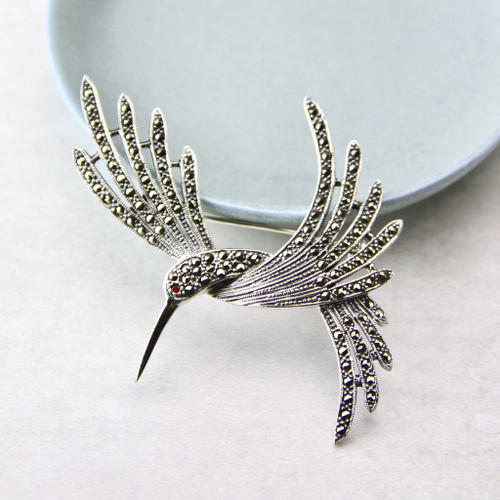 Large Marcasite Hummingbird Brooch