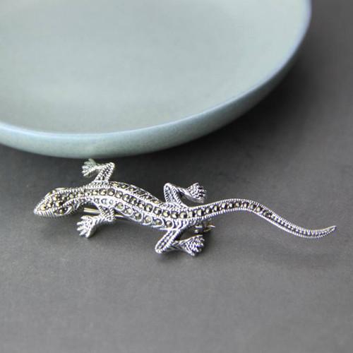 Sterling Silver Lizard Gecko Marcasite Brooch
