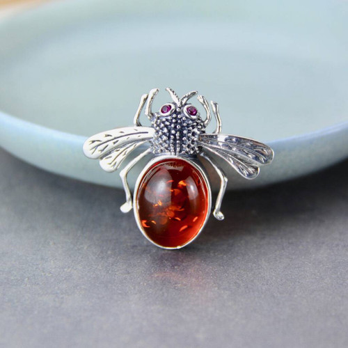 Baltic Amber Bee and Marcasite Brooch