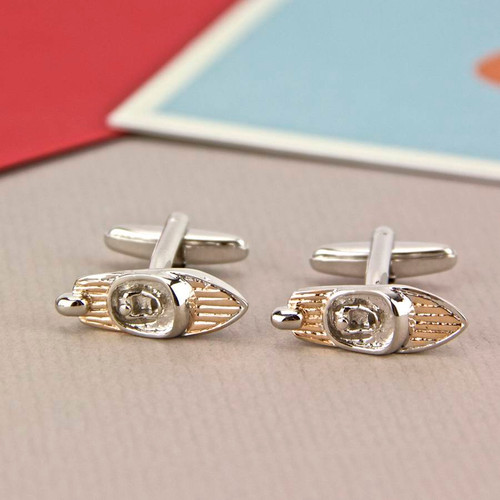 Retro Speedboat Silver and Rose Gold Cufflinks