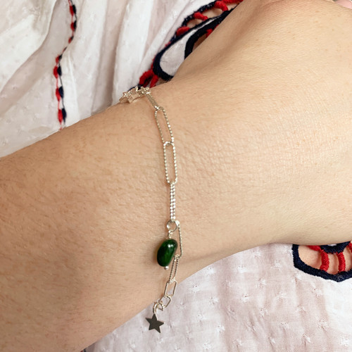Sterling Silver Elongated Textured Chain Bracelet