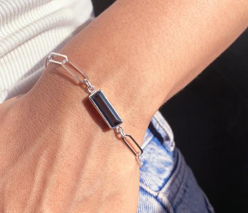 Silver Baguette Semi Precious Birthstone Bracelet