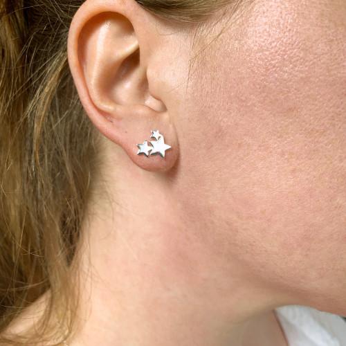 Sterling Silver Shooting Stars Stud Earrings