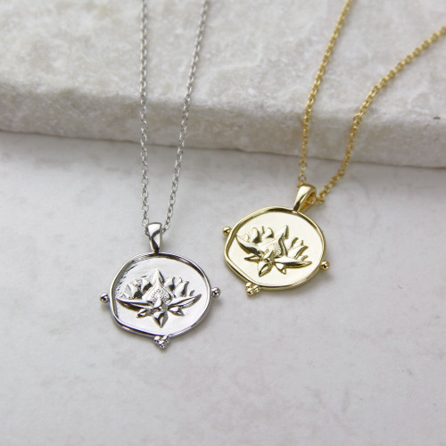 Lotus Coin Sterling Silver Necklace