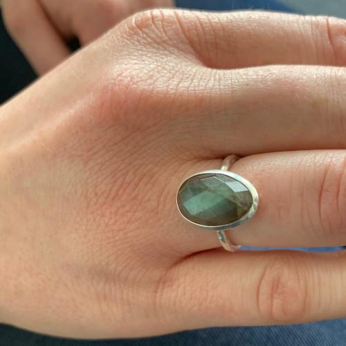 Large Faceted Labradorite Gemstone Ring