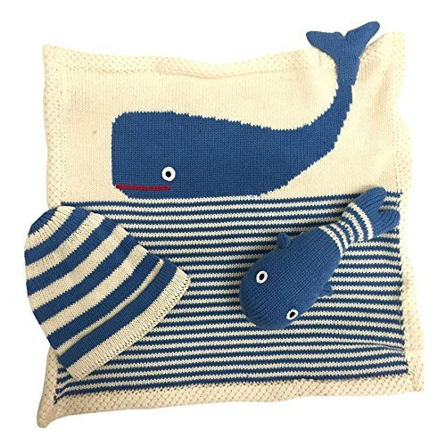 Estella gift-whale Hand Knit Whale Organic Cotton Newborn Baby Gift Set by Estella