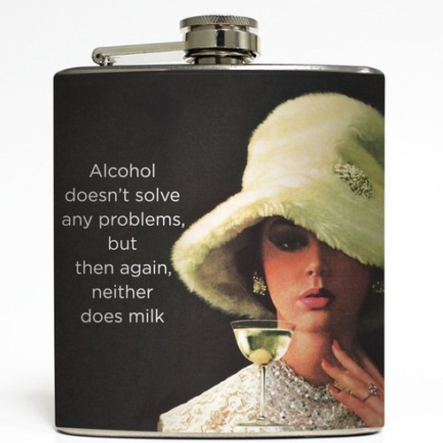 Alcohol Doesn't Solve Any Problems - Liquid Courage Flasks - 6 oz. Stainless Steel Flask