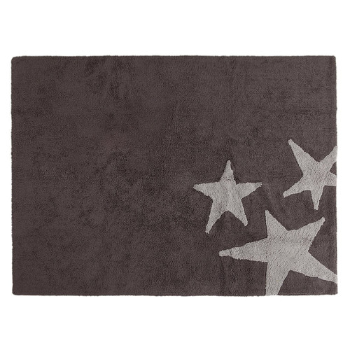 Lorena Canals Three Stars Grey Washable Children's Rug - Machine Washable, Perfect for the Nursery - Handmade from 100% Natural Cotton and Non-Toxic Dyes