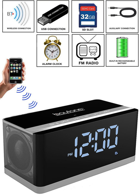 Boytone BT-86C Bluetooth 4.1 Portable Alarm Clock Radio Wireless Speaker, Digital FM Tuning Built–in 8 Hours Play Rechargeable Battery, Mic, Large LED Display, USB, Micro SD Slot, AUX, 110/220 Volt