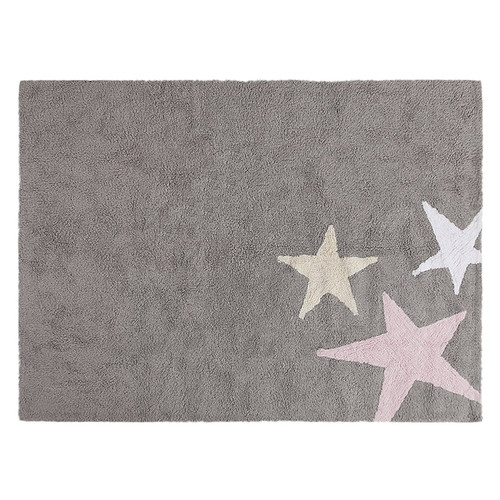 """Lorena Canals Three Stars Machine Washable Nursery Rug 4' x 5' 3"""", Handmade from 100% Natural Cotton and Non-Toxic Dyes, Pink"""