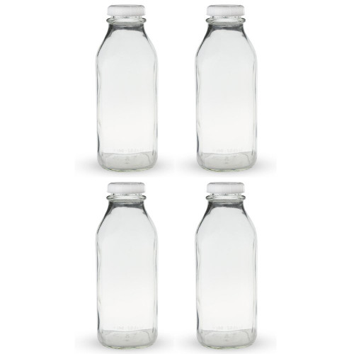 Libbey Glass Milk Bottle with Lid, 33.5 oz, 4 Pack