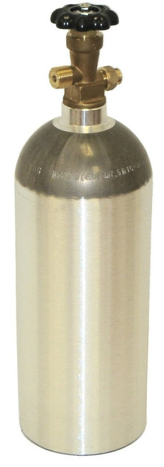 Zebra DNA Luxfer L6X Aluminum CO2 Tanks with CGA320 on/off Valve (Natural, 5 LB)