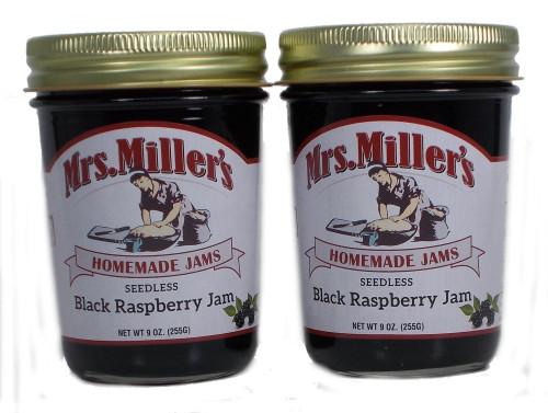 Seedless Black Raspberry Jam (Amish Made) ~ 2 / 9Oz. Jars