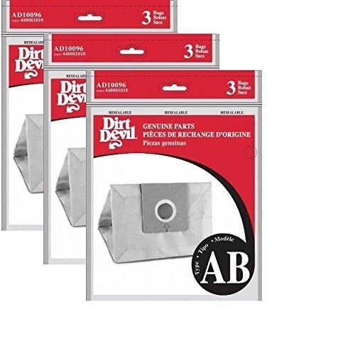 Dirt Devil Type AB Vacuum Bags (9-Pack), AD10096