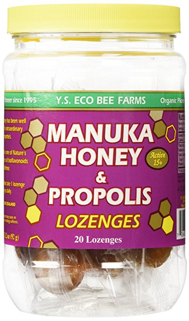 Y.S. Eco Bee Farms Manuka Honey & Propolis Active 15+ Lozenges 20 Lozenges