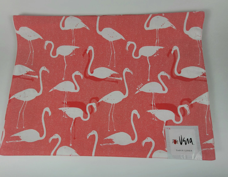 Vera Cloth Table Linens Placemats Flamingo Pattern Pink and White - Set of 9 - NEW