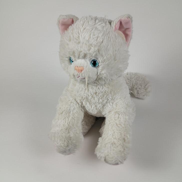 "Build A Bear Cat White Nappy Fur Plush - Sitting -12"" H"