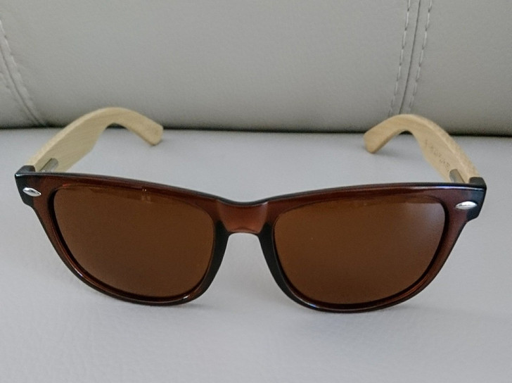 Sunglasses - Classic Style - Polarized - HD Clear Visual - UV400 - Bamboo - Brown Frame And Lens
