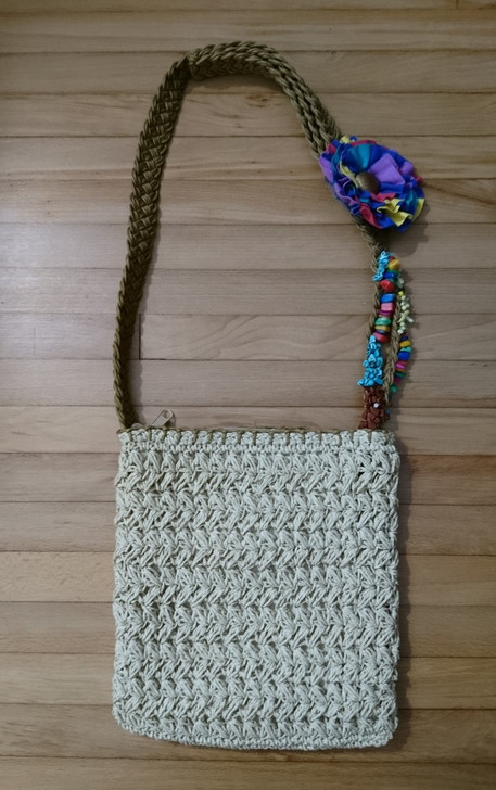 Blue Miami Shoulderbag - Straw-Look Macrame Design, Pre-Owned